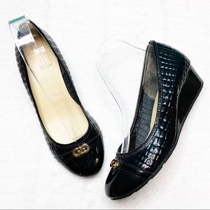 Cole Haan Black Capped toe Patent Leather Wedge 8B